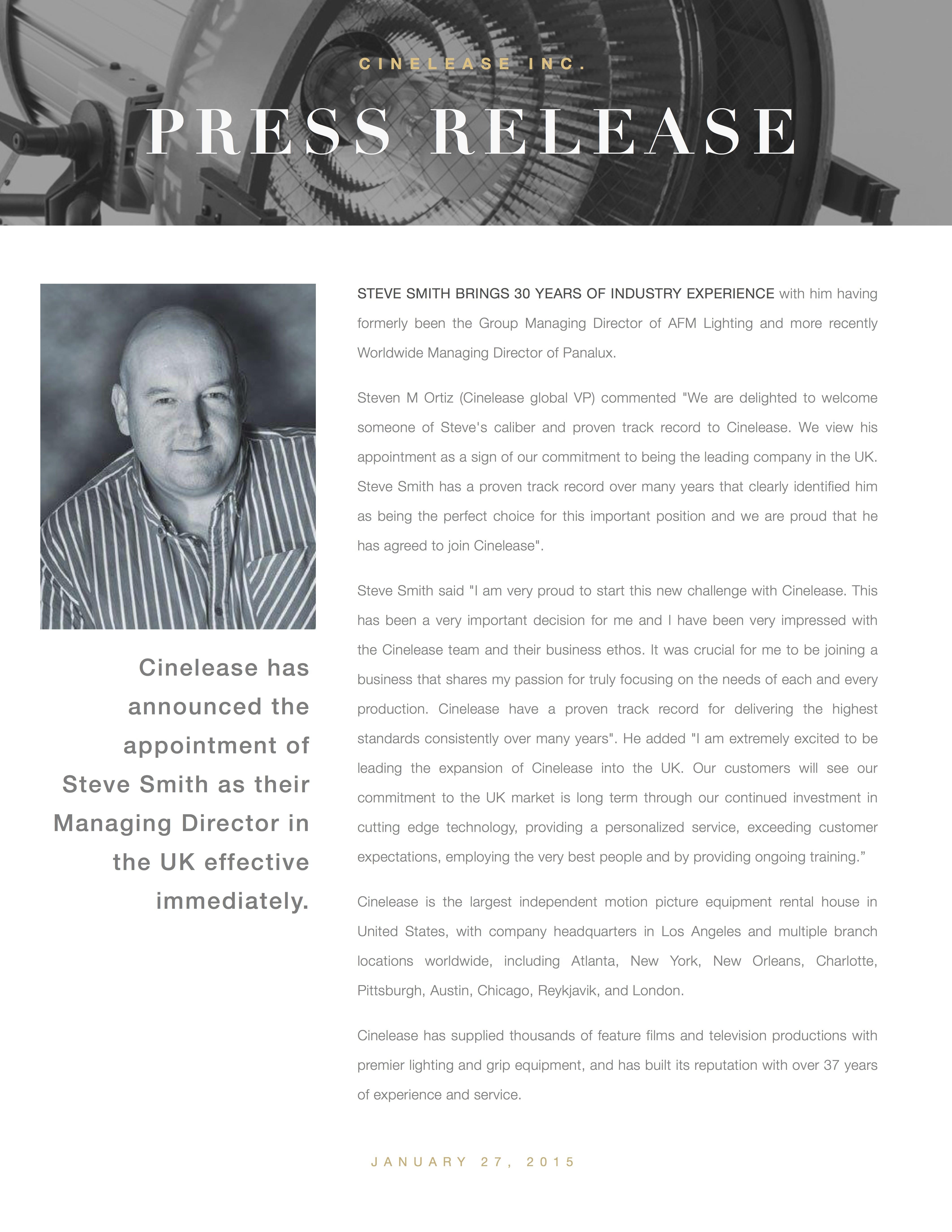 press release steve 2